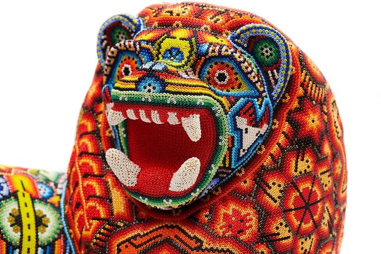 Leon - Lion - Hand Beaded - Mexican Huichol Art - Mexican Folk Art  For Sale 9
