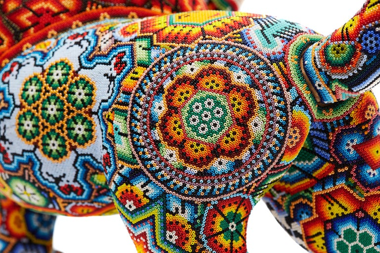 Leon - Lion - Hand Beaded - Mexican Huichol Art - Mexican Folk Art  For Sale 12