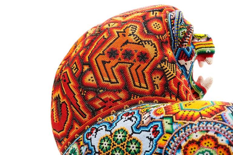Leon - Lion - Hand Beaded - Mexican Huichol Art - Mexican Folk Art  For Sale 13