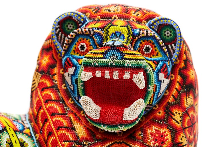 Leon - Lion - Hand Beaded - Mexican Huichol Art - Mexican Folk Art  For Sale 15