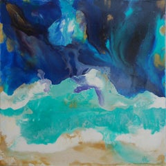 Mountain Waves, Modern Acrylic Beach Painting, Contemporary Mountains, Abstract