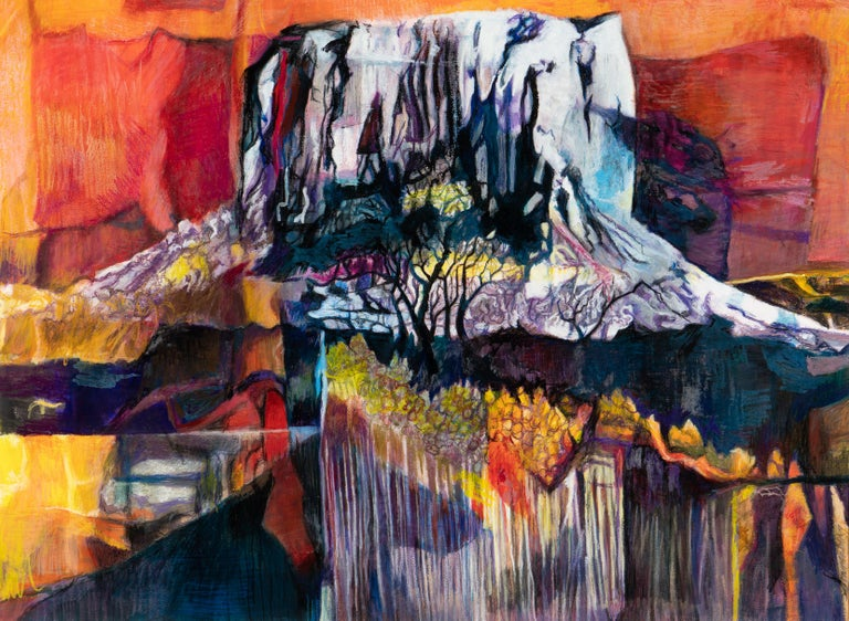 """Mixed media; acrylic and oil & soft pastel  Joan Sonnenberg's abstracts are like none other. Vivid, arresting, and haunting, her mixed media abstracts integrate familiar items — pipes, wood, leaves — in startling, innovative ways. """"Mt. Kilimanjaro"""