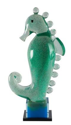 Green Sparking Seahorse By Mara Sfara, Contemporary Lucite Sculpture, 2017
