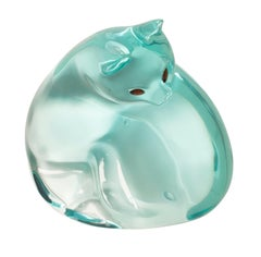Blue-Green Cat by Mara Sfara, Contemporary Lucite Sculpture, Gemstone Accents