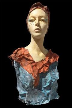 """Alessio Deli """"Dama del Piombo Alma"""" Resin and Lead Contemporary Art Sculpture"""