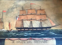 Naive watercolour of a Dutch schooner