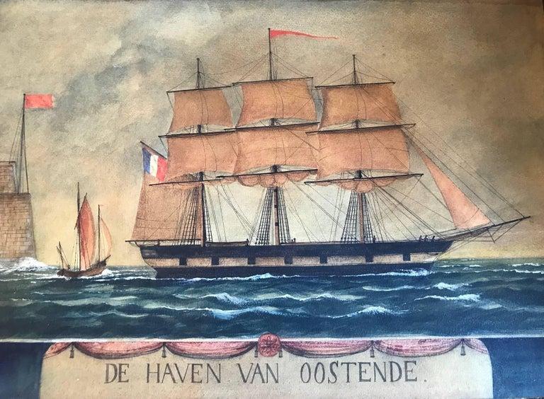 Unknown Landscape Art - Naive watercolour of a Dutch schooner