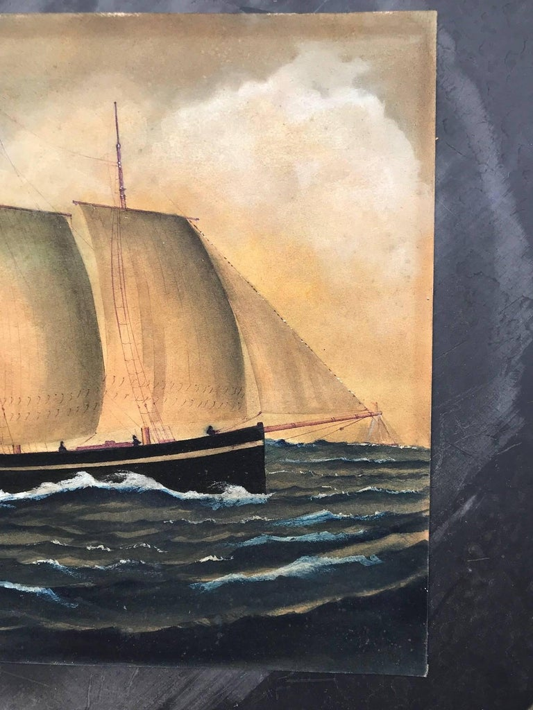 Naive watercolour of a Dutch Schooner For Sale 3