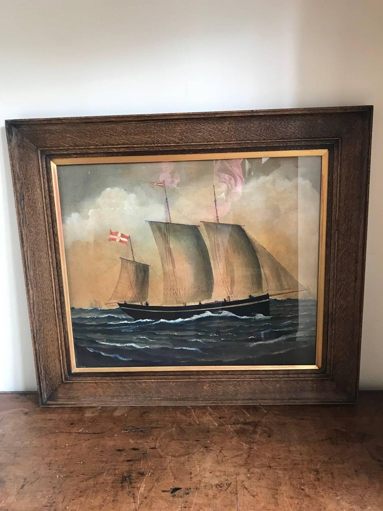 Naive watercolour of a Dutch Schooner For Sale 7