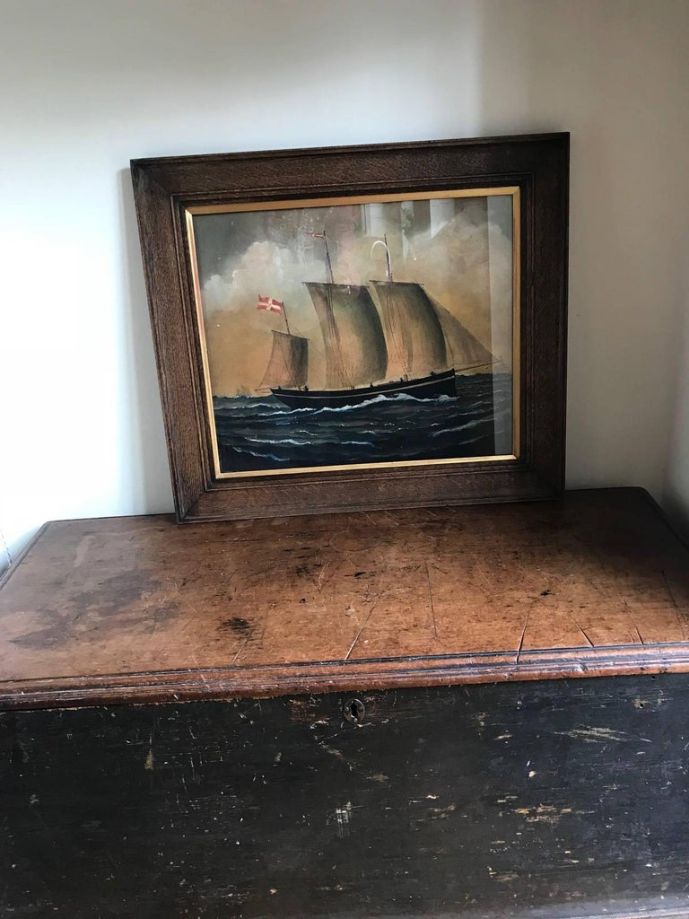 Naive watercolour of a Dutch Schooner For Sale 8
