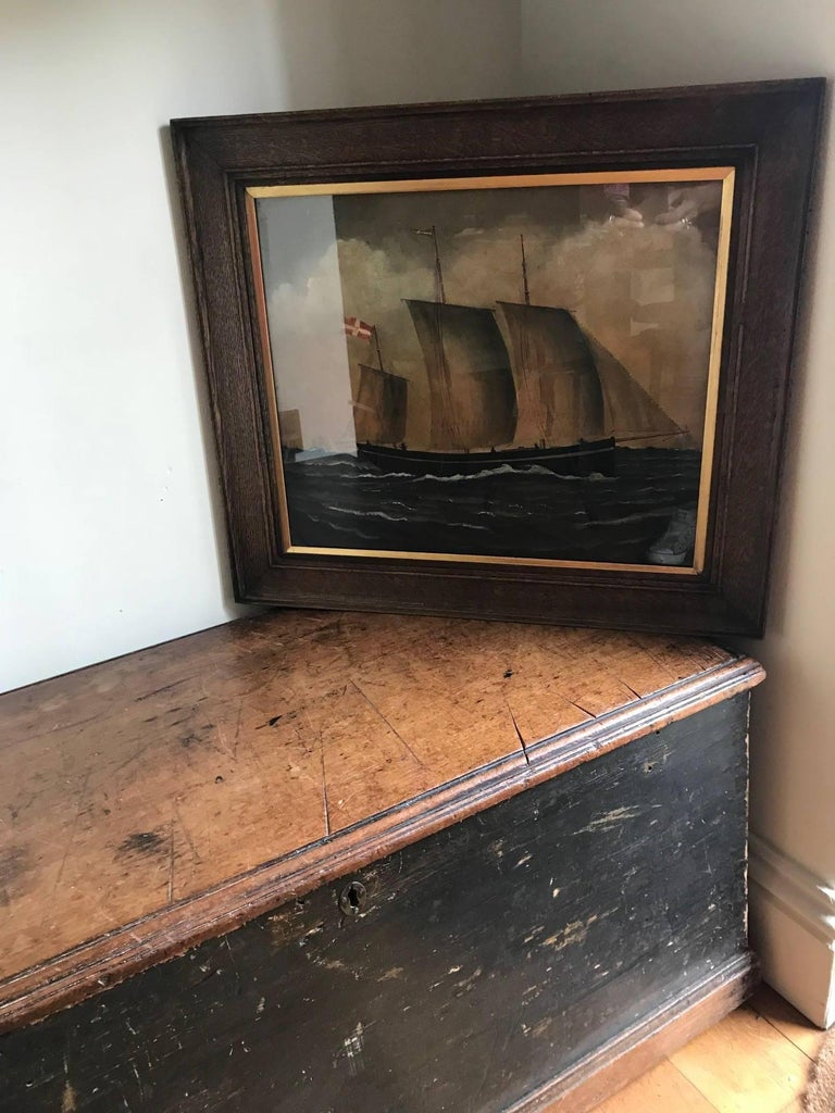 Naive watercolour of a Dutch Schooner For Sale 9