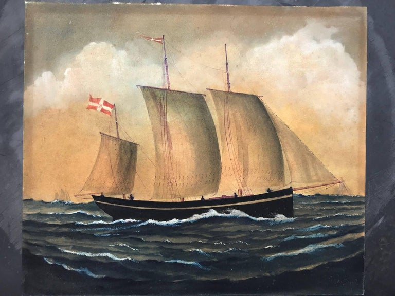 Naive watercolour of a Dutch Schooner For Sale 5