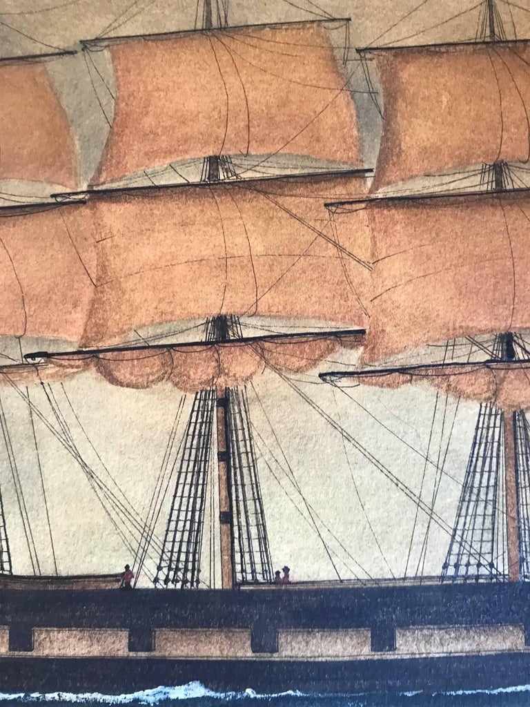 Naive watercolour of a Dutch schooner - Art by Unknown