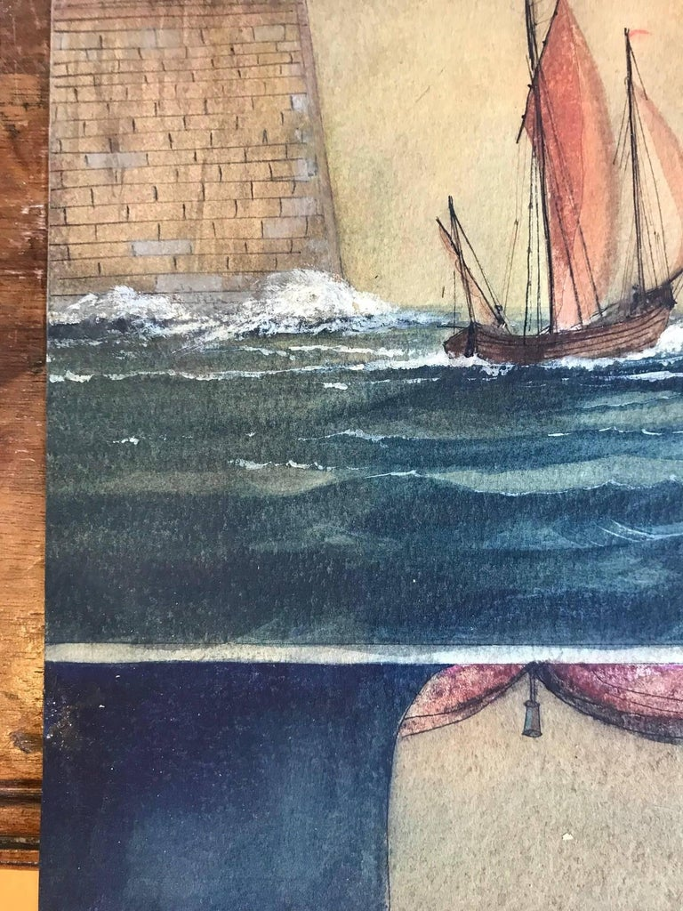 Naive watercolour of a Dutch schooner - Victorian Art by Unknown