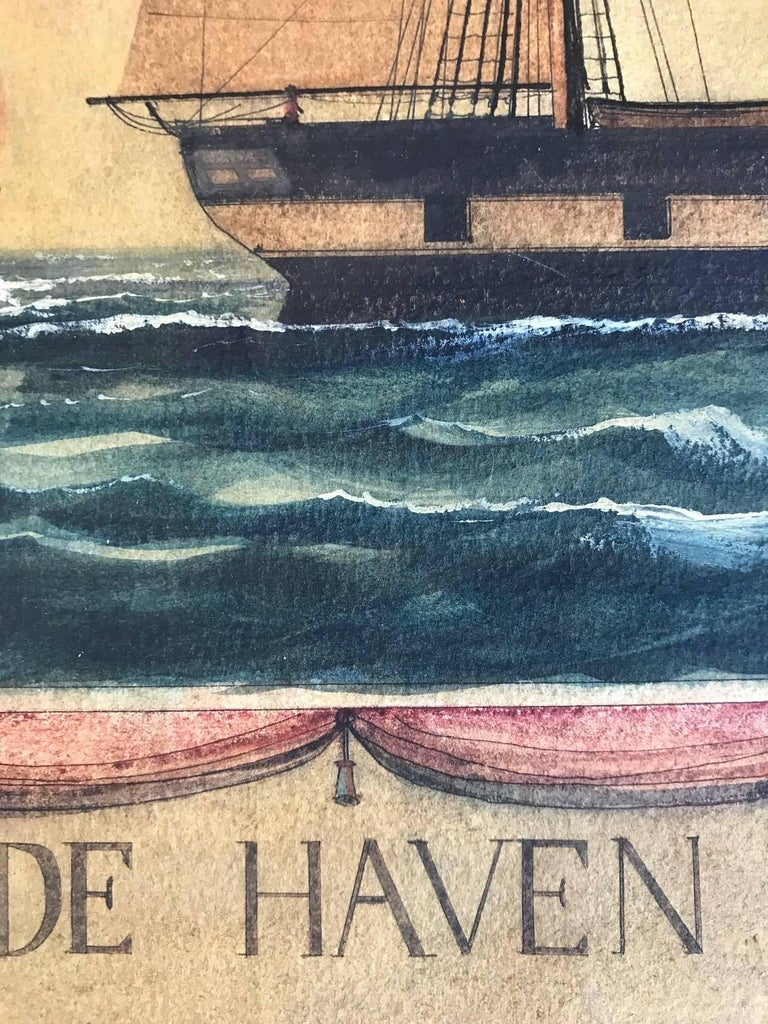 Naive watercolour of a Dutch schooner - Brown Landscape Art by Unknown