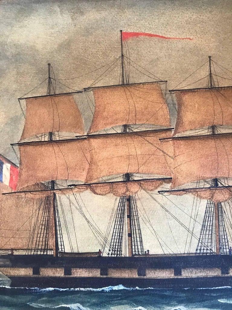 Naive watercolour of a Dutch schooner For Sale 1