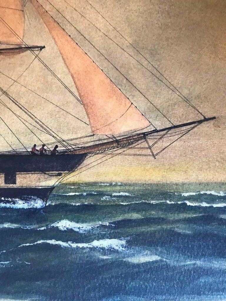 Naive watercolour of a Dutch schooner For Sale 2