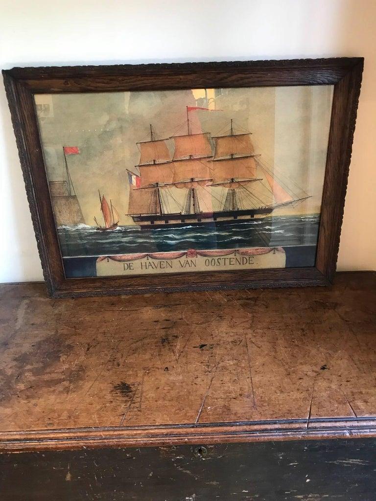 Naive watercolour of a Dutch schooner For Sale 3