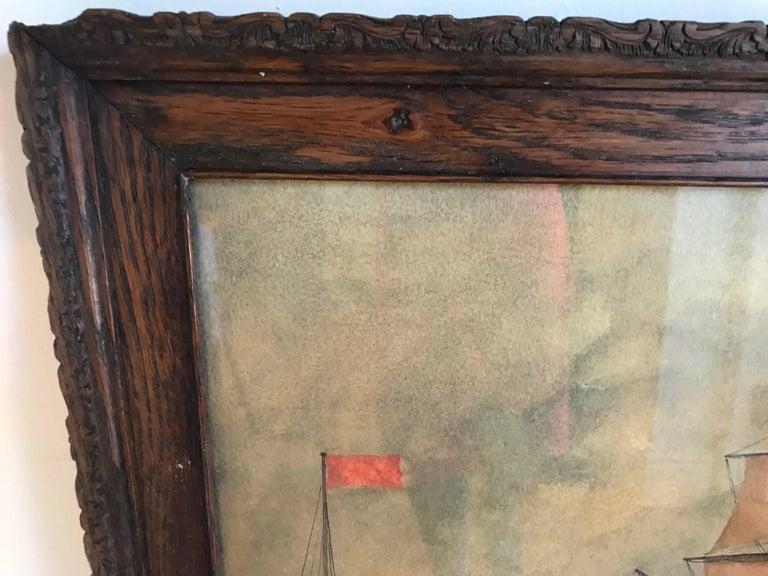 Naive watercolour of a Dutch schooner For Sale 4