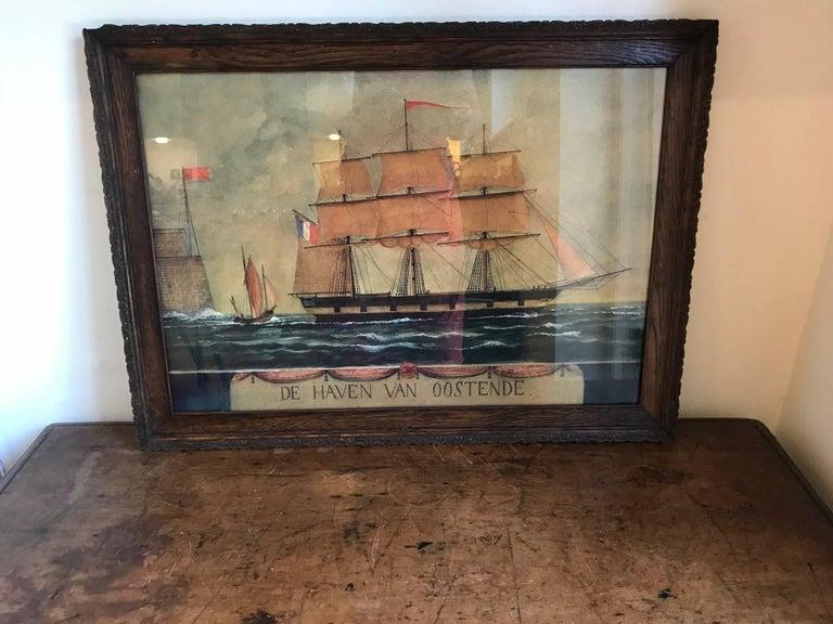 Naive watercolour of a Dutch schooner For Sale 5