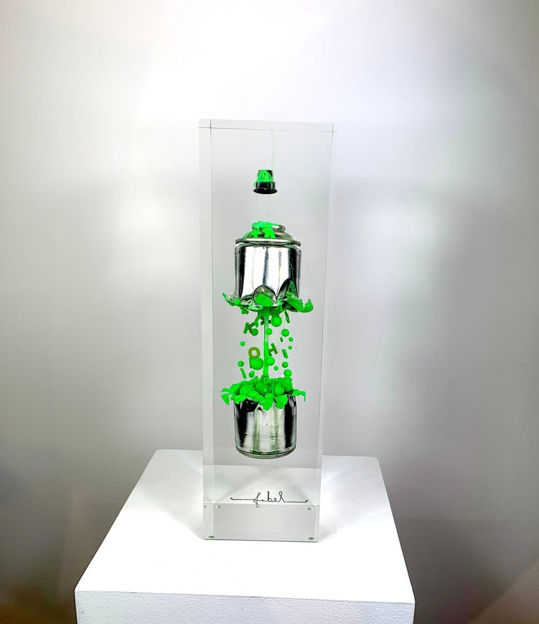 Green Spray in two parts - Pop Art Sculpture by Francois Bel