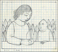 Drawing for Loretta Feeding a Monkey
