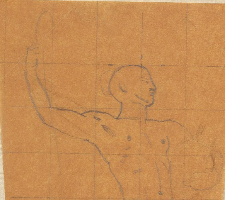 Mural Study, Male Nude - Beige Figurative Art by John Singer Sargent