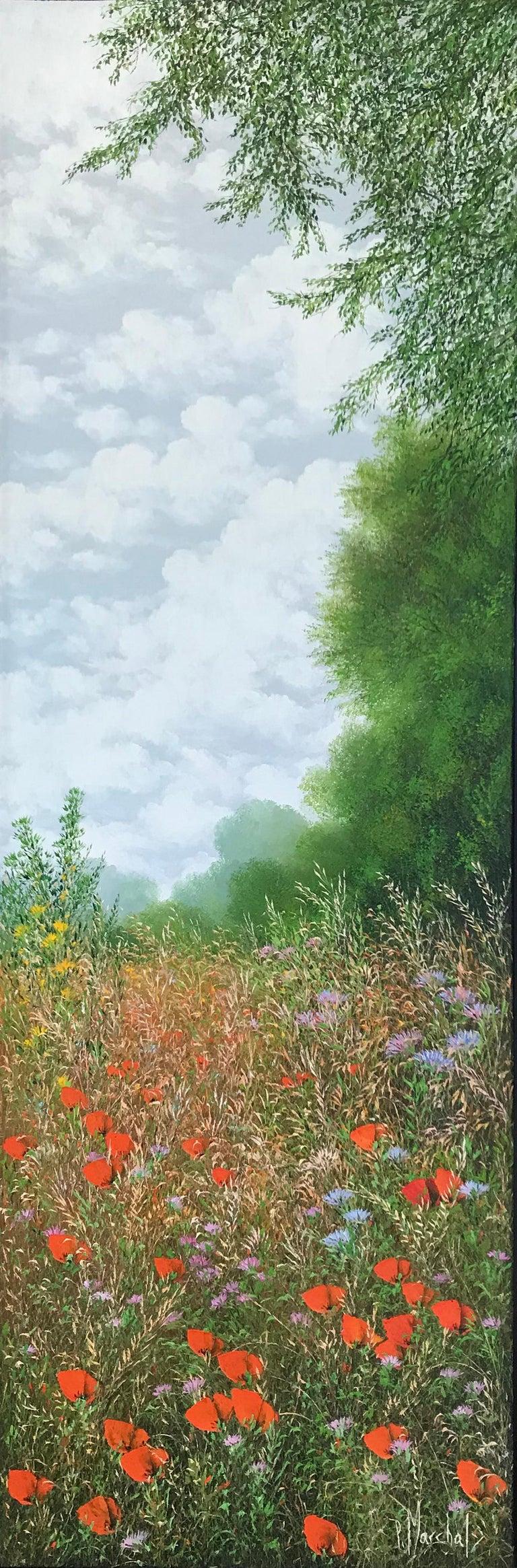 Patrice Marchal Landscape Painting - Eté, oil painting on canvas , size with frame 95.4 x 35.4 cm , 2019