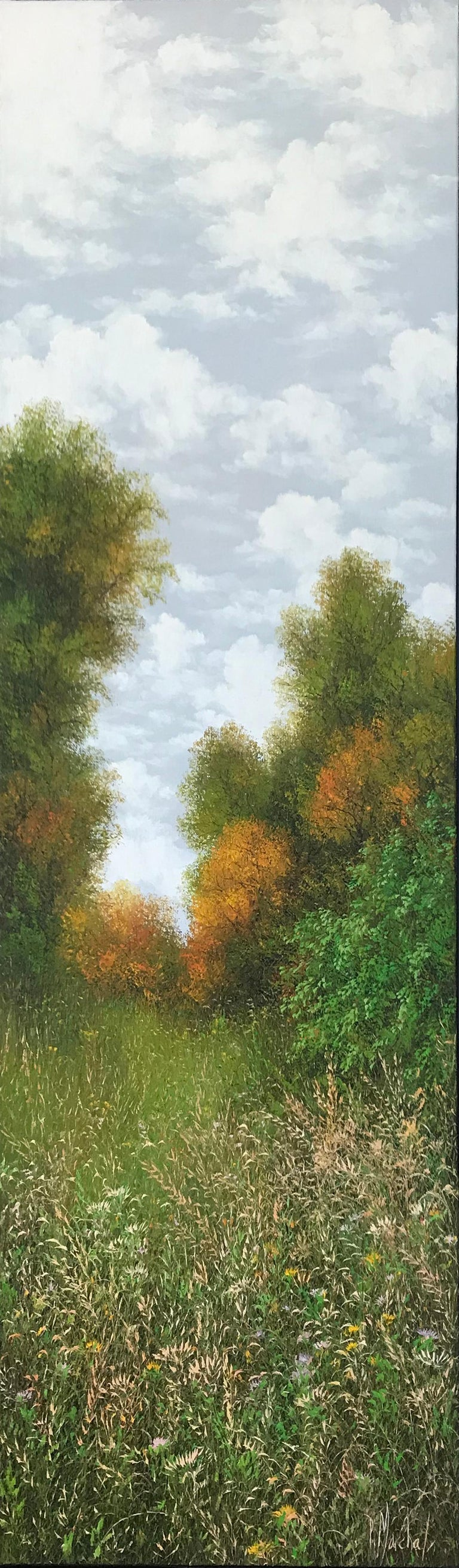 Patrice Marchal Figurative Painting - L'automne , oil painting on canvas , size with frame 95.4 x 35.4 cm , 2019