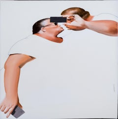 Ego-bisou , oil paining and pencil on canvas , size with frame 56 x 56 cm
