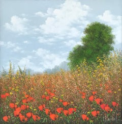 Coquelicots, oil painting on canvas , size with frame 45.4 x 45.4 cm