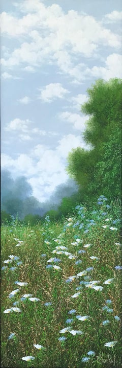 Bleuets et Marguerites, oil paiting on canvas,size with frame 95.4 x 35.4 cm