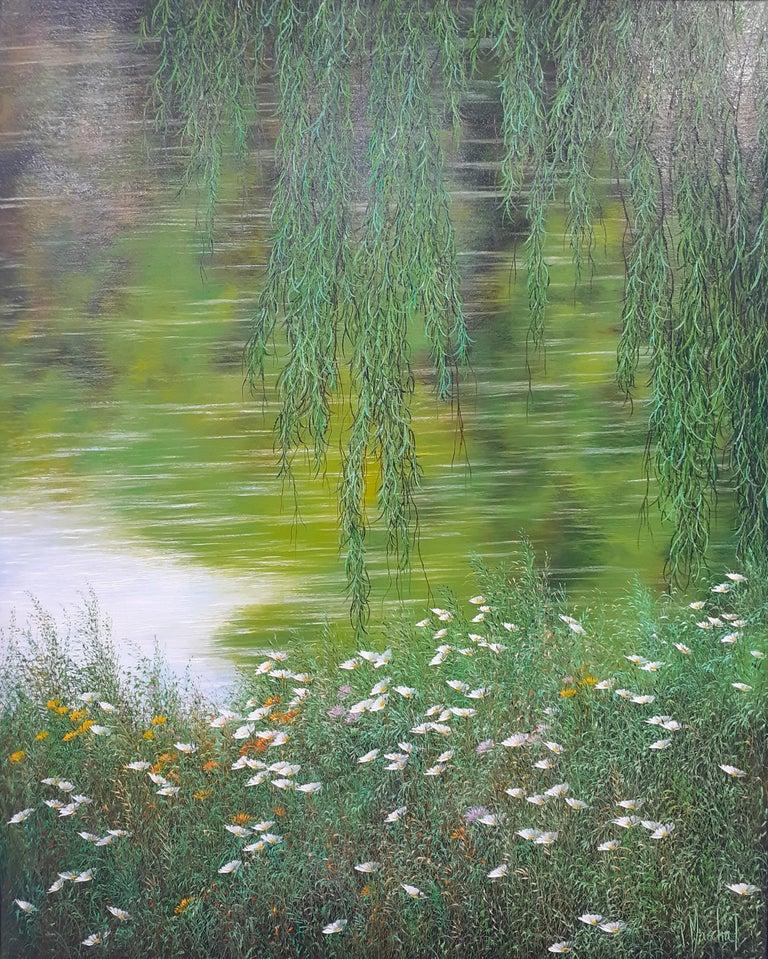 Patrice Marchal Figurative Painting - Reflets, symphonie de verts,oil painitng on canvas,size w/ frame 105.4x86.4 cm