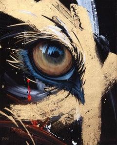 STARK ( regard de loup gris) , acrylic paint on canvas with gold leaf
