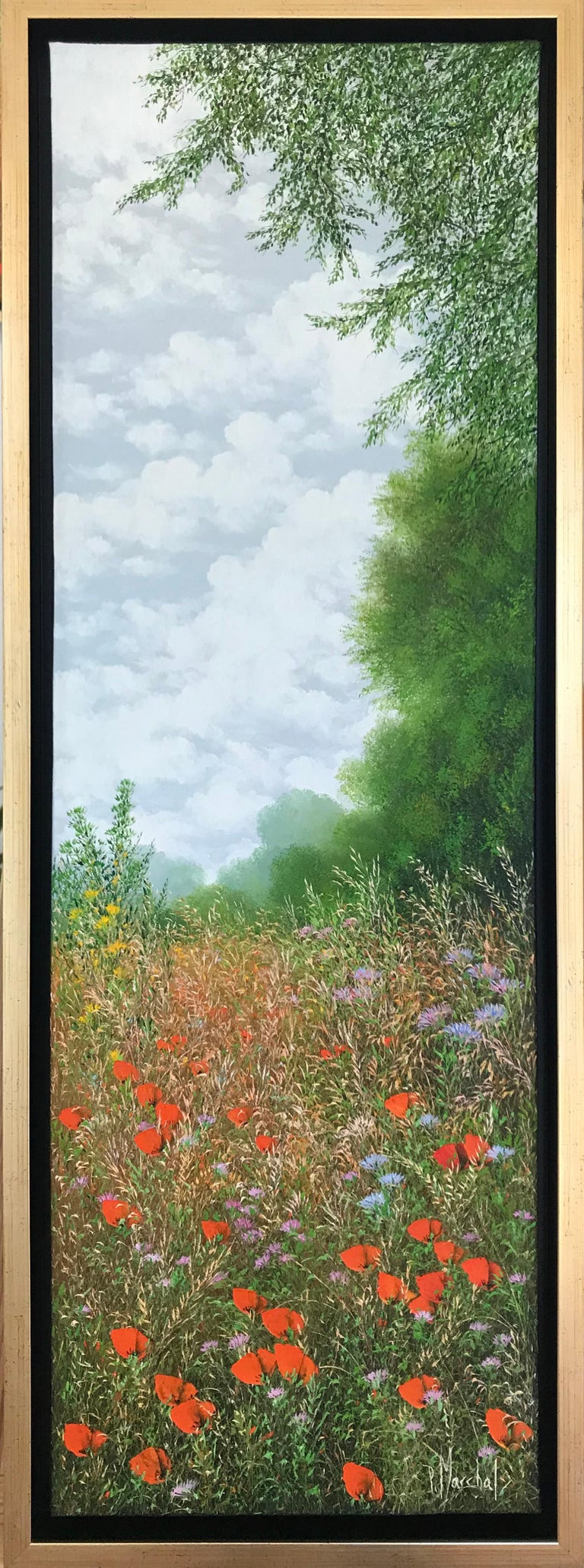 Eté, oil painting on canvas , size with frame 95.4 x 35.4 cm , 2019 - Painting by Patrice Marchal