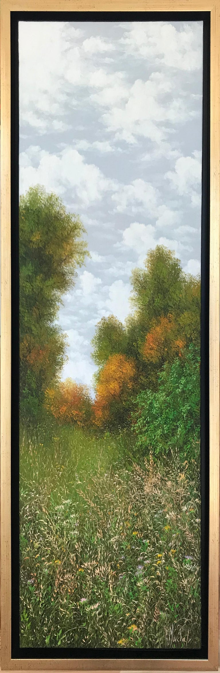 L'automne , oil painting on canvas , size with frame 95.4 x 35.4 cm , 2019 - Painting by Patrice Marchal