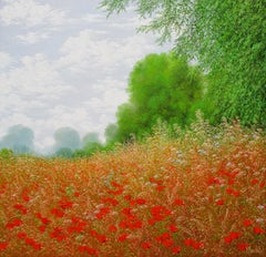 Au coeur des coquelicots,oil painting on canvas ,size with frame 85.4 x 85.4 cm