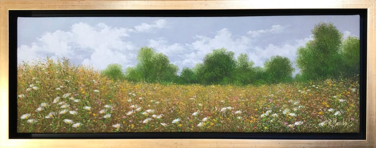 Champ fleuri , oil painting on canvas , size with frame 25.4 x 65.4 cm  - Painting by Patrice Marchal