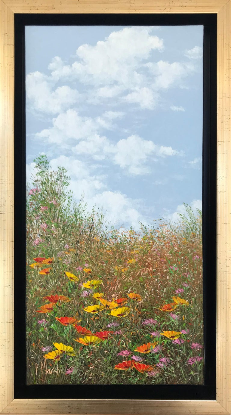 Ensoleillement, oil painting on canvas , size with frame 45.4 x 25.4 cm  - Painting by Patrice Marchal