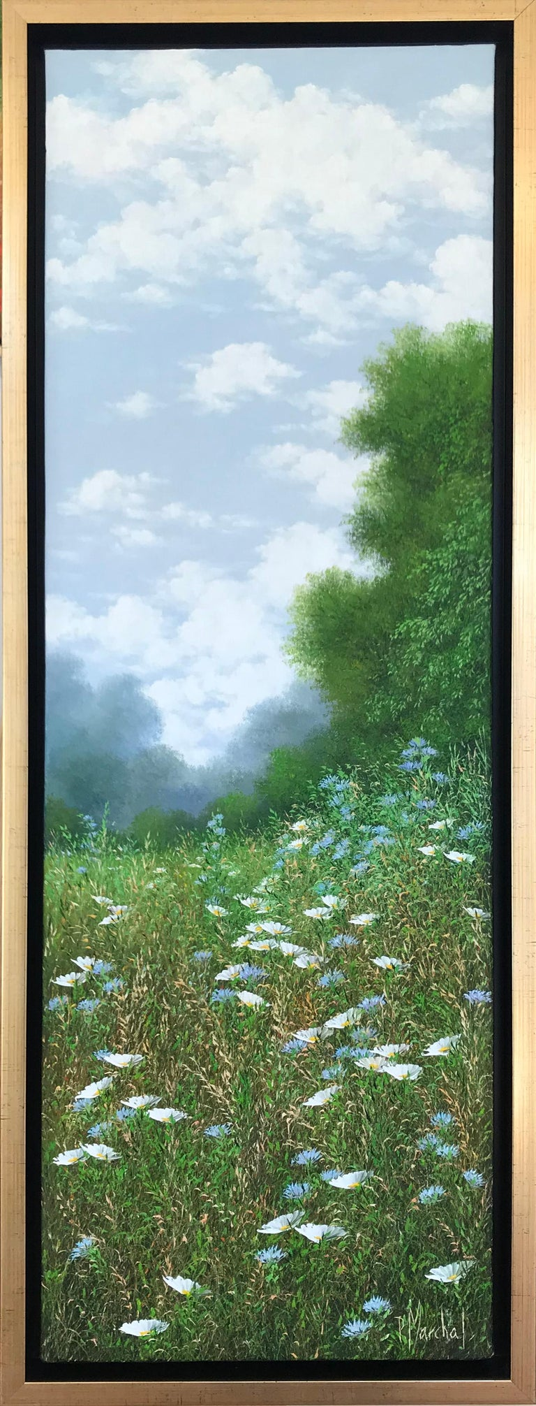 Bleuets et Marguerites, oil paiting on canvas,size with frame 95.4 x 35.4 cm - Painting by Patrice Marchal