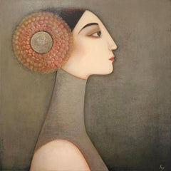 Sophia , mixed media on canvas , size with frame 94 x 94 cm