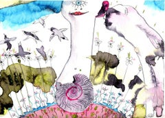 """""""Smoke 66"""", surreal mythological humans and animals in turquoise, pink and green"""