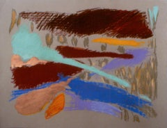 """""""Wheaties in the Field"""", pastel in  rich browns and blues"""