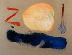 """""""Zoi"""",  pastel in rich blue, peach and red"""