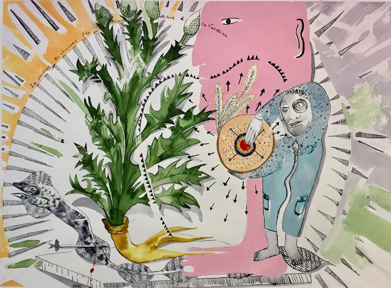 Nana Deleplanque Abstract Drawing - Plant and Spirit, La Verveine