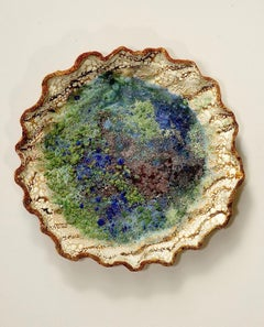 """Pond"", textured ceramic in brilliant blues, greens and cream"