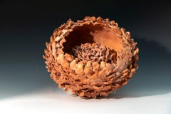 """Double Sea Flower"", textured ceramic in deep pinks, embodies essential clay"