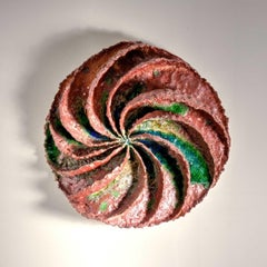 """""""Turbulence"""", textured ceramic in pinks and greens, embodies essential clay"""