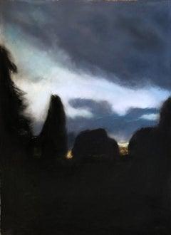 """Nightfall"",  landscape pastel with glowing sunset sky"