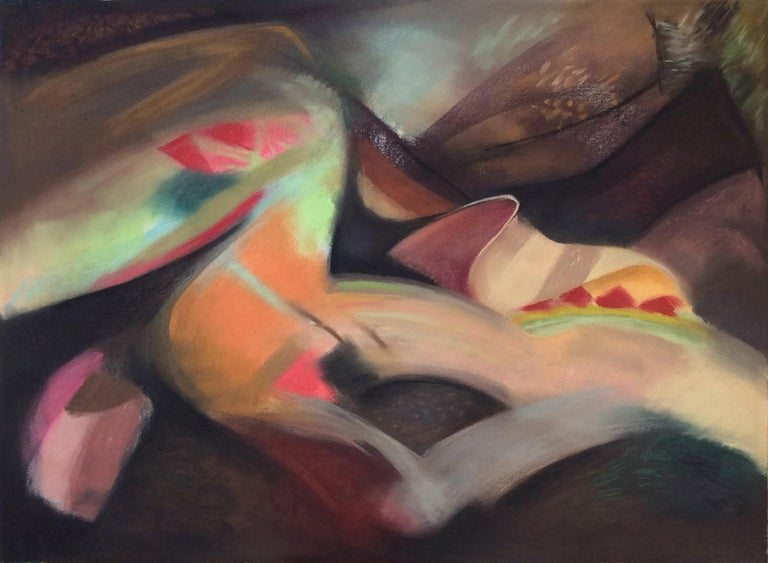 """Marilyn Davidson Abstract Drawing - """"Beau Monde"""", abstract pastel in jewel pinks, greens and browns"""
